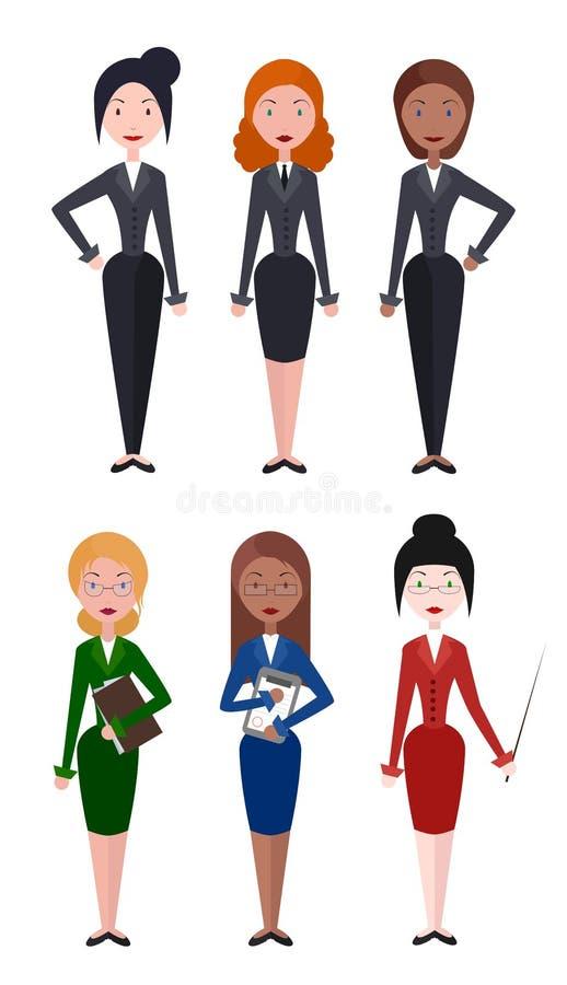 Set płaskie wektorowe ilustracj kobiety biznesowy pracownik, nauczyciel ilustracja wektor