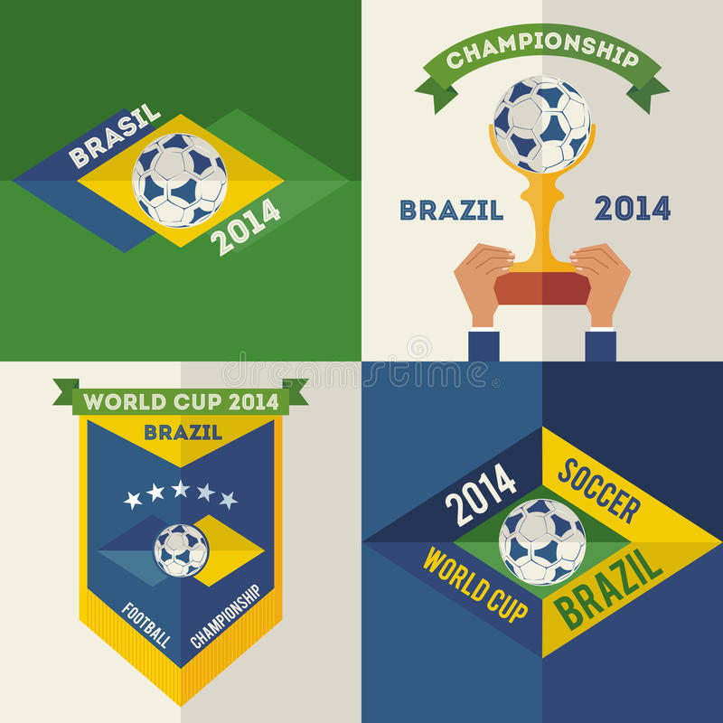 Set płaskiego projekta piłki nożnej Brazylijskie etykietki ilustracja wektor