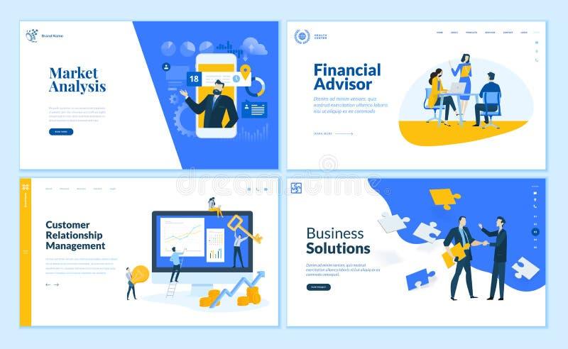 Set płaskiego projekta strony internetowej biznesowi szablony royalty ilustracja