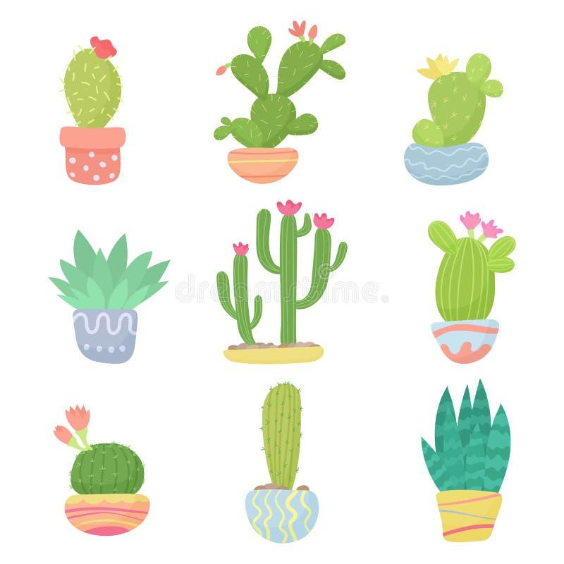 Set płaskiej kreskówki domu lub pustyni garnka śliczna kaktusowa wektorowa ilustracja ilustracji