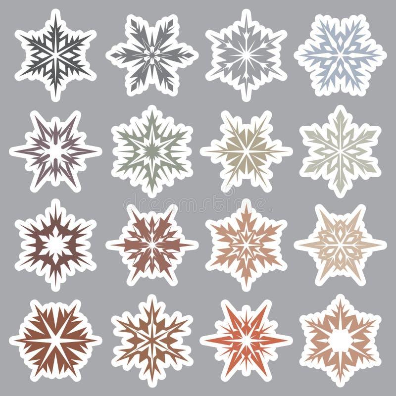 Set płatki śniegu 3 ilustracja wektor