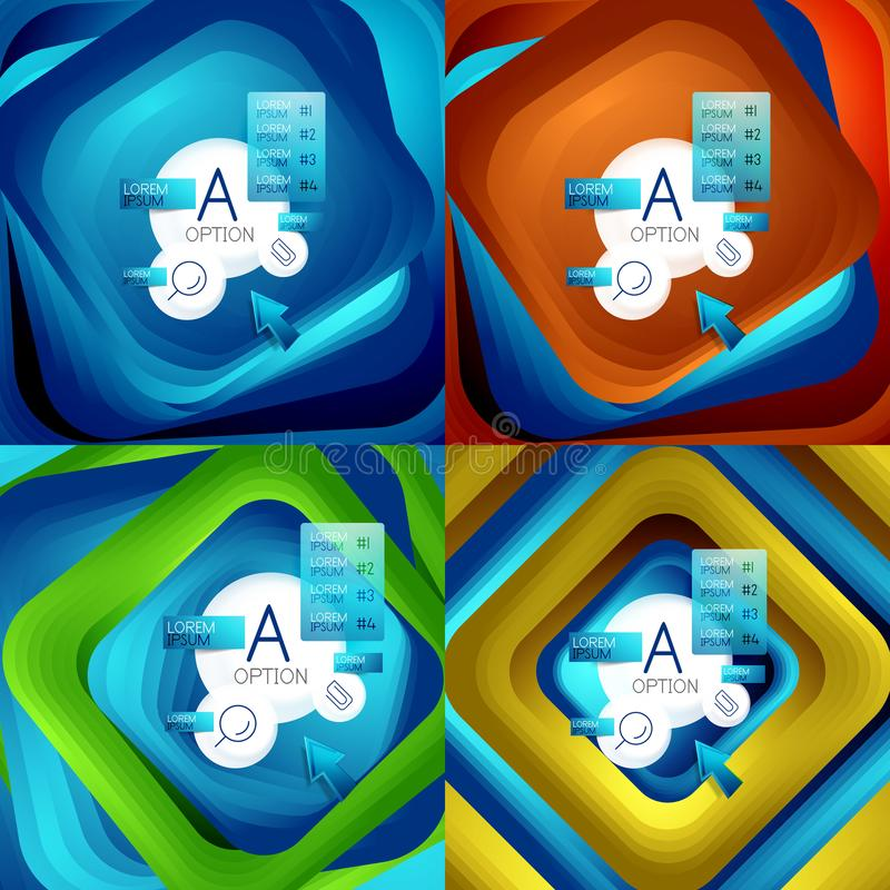 Set płodozmienni zawijasa kwadrata tła, kolorów prostokąty z kroczeniem miesza skutek z próbki infographics lub ilustracji