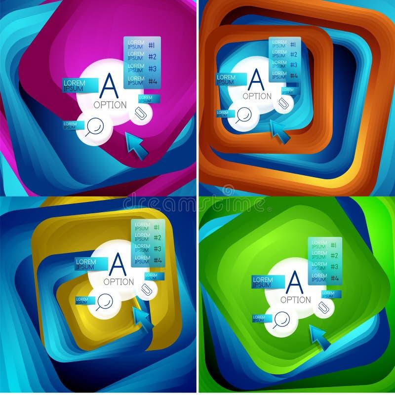 Set płodozmienni zawijasa kwadrata tła, kolorów prostokąty z kroczeniem miesza skutek z próbki infographics lub royalty ilustracja