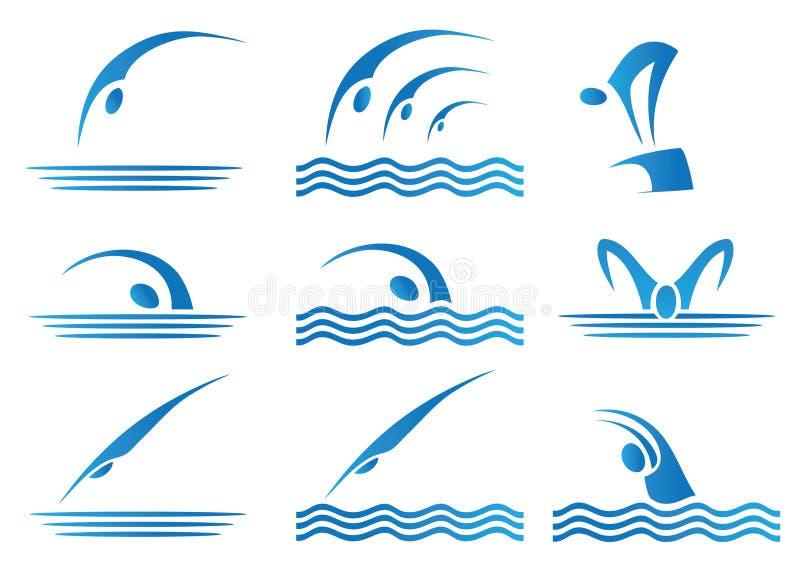 Set pływackie ikony ilustracji