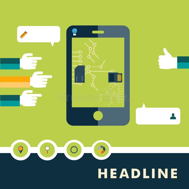 Download Set Płaskie Projekt Ikony Dla Smartphone Ilustracja Wektor - Ilustracja złożonej z komunikacja, komputer: 57665123