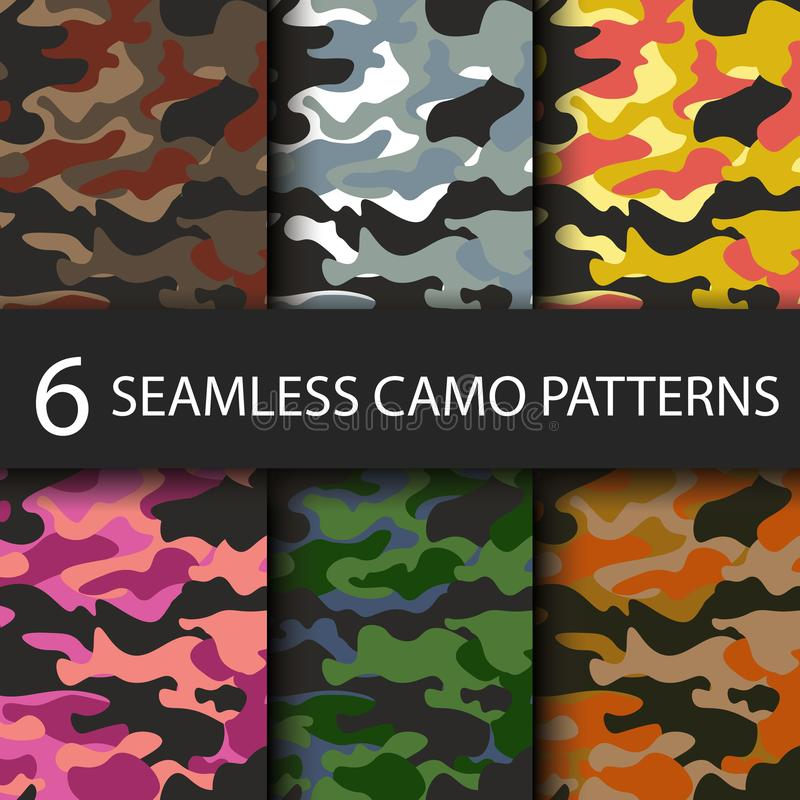 Set of 6 pack Camouflage seamless patterns background with black shadow. Classic clothing style masking camo repeat. Print. Bright colors of forest texture stock illustration