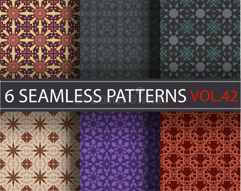 Set, pack, collection vector seamless patterns, tiling. Geometric ornaments. royalty free stock image