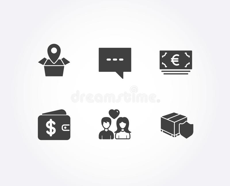 Package location, Euro currency and Blog icons. Dollar wallet, Couple love and Delivery insurance signs. royalty free illustration