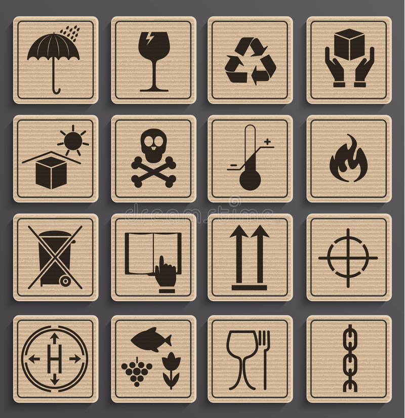 Set Of Packaging Symbols. Set Of Packaging Symbols in a paper official style. Icon set including waste recycling, fragile, this side up, handle with care, keep stock illustration