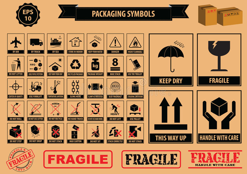 Set Of Packaging Symbols. (this side up, handle with care, fragile, keep dry, keep away from direct sunlight, do not drop, do not litter, use only the trolley vector illustration