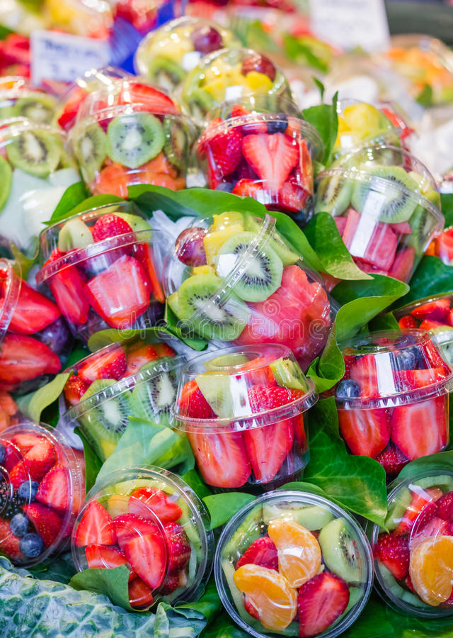 Set packed of fresh fruits in La Boqueria market, in Ramblas street, Barcelona, Spain stock photography