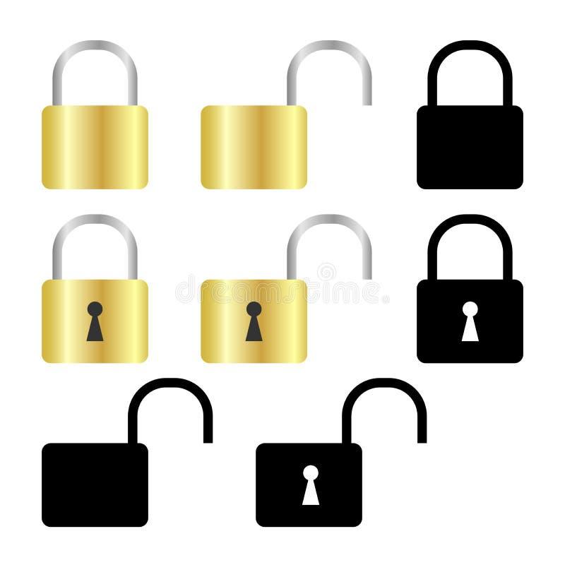 Set of padlock royalty free illustration