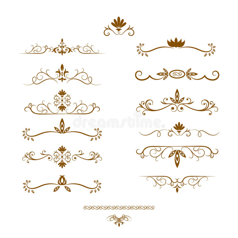 Set page dividers. Page dividers set. Decorative elements. Vector illustration royalty free illustration