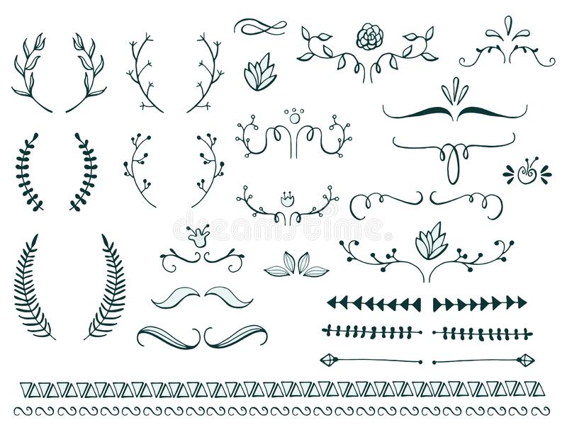 Set of page dividers. Hand drawn sketched. Vector Illustration. royalty free illustration