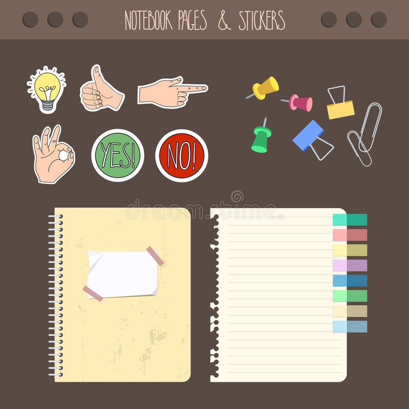 Set Of Pages Notebook With Stickers, Colored Tape, Staples. Template ...