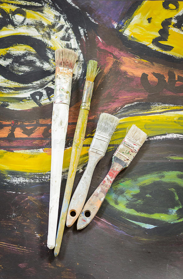 Set of paint brushes stock photos