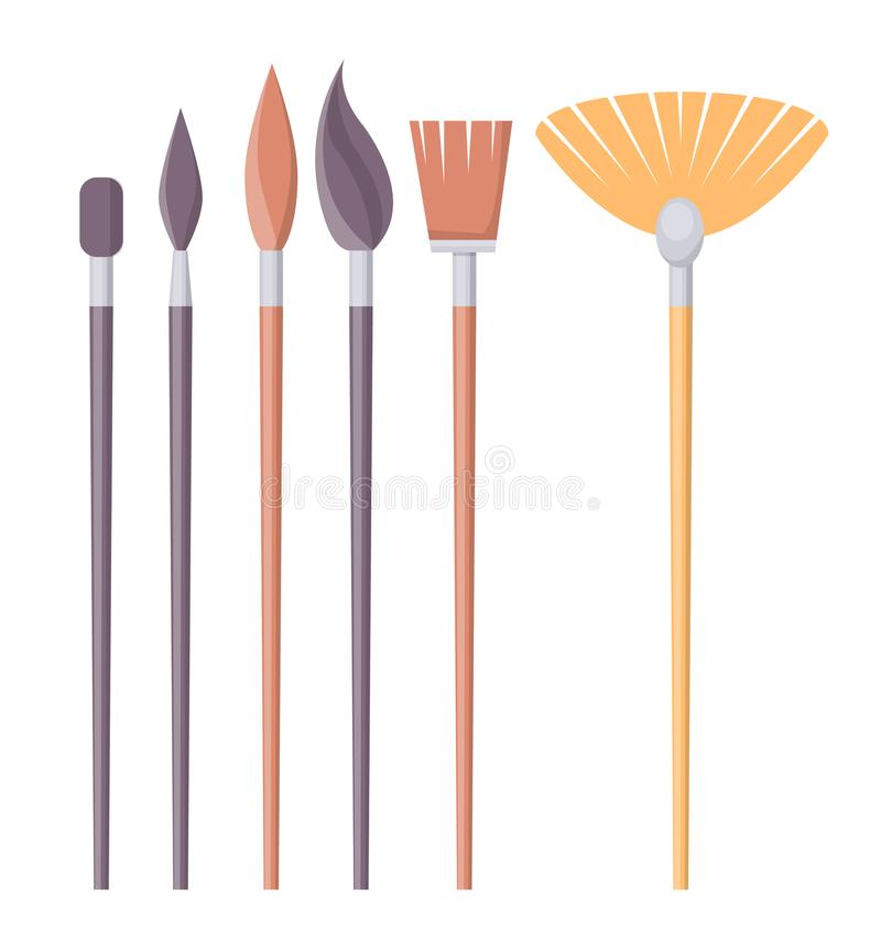 Set of Paint Brushes of Different Shapes Isolated vector illustration