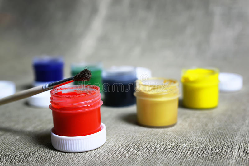 Set of paint cans royalty free stock photos