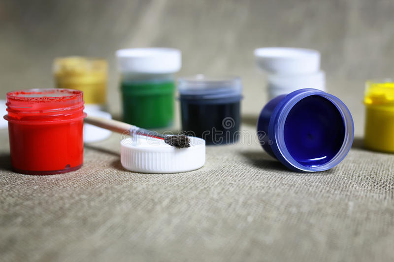 Set of paint cans stock photos