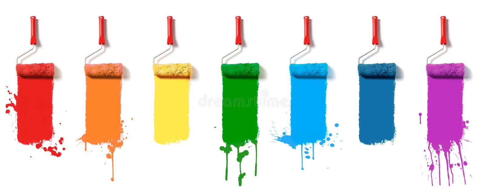 Set of paint rollers stock photo