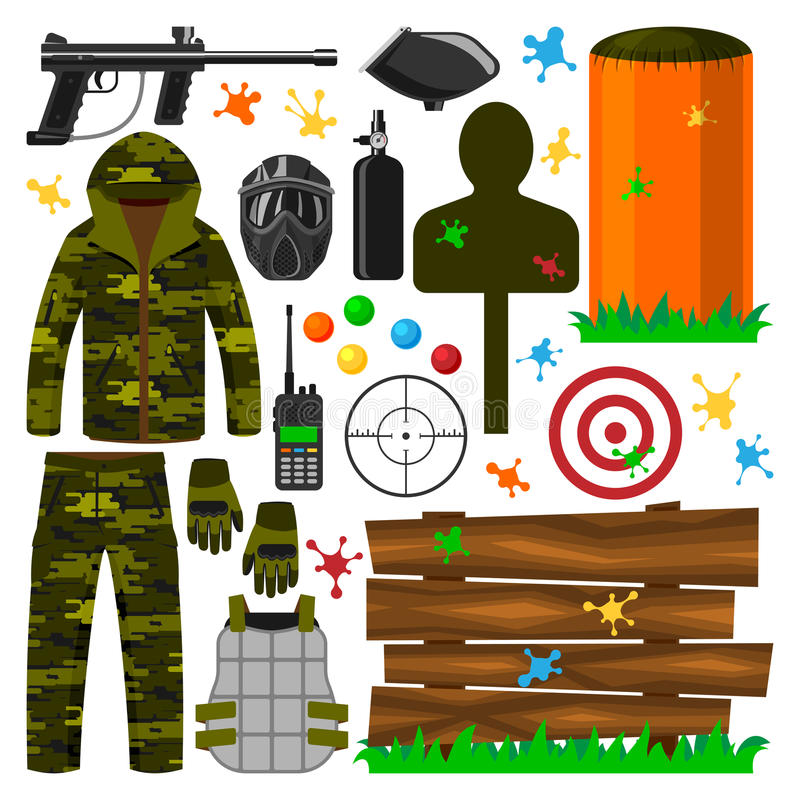 Set of paintball club symbols icons protection uniform, sport game equipment target vector illustration vector illustration