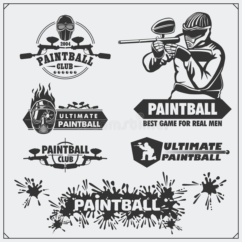 Set paintball klubu etykietki, emblematy, symbole, ikony i projektów elementy, ilustracja wektor