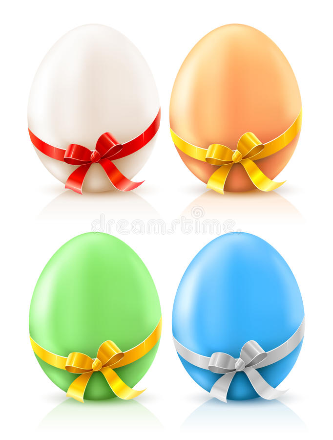 Set of painted easter eggs with bows