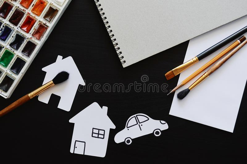 Set of painter accessories. Creativity or back to school concept. Mock up royalty free stock photo