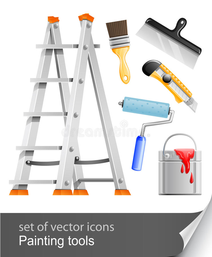 Download Set painter tools stock vector. Image of isolated, knife - 18379099