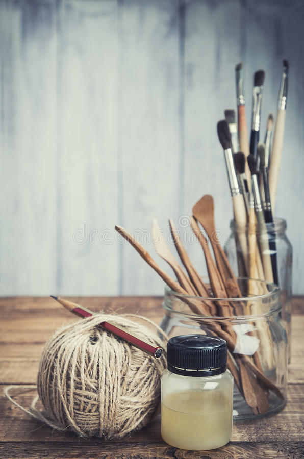 Set of painting and sculpturing tools royalty free stock photos