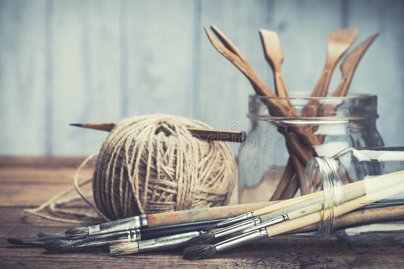 Set of painting and sculpturing tools stock photos