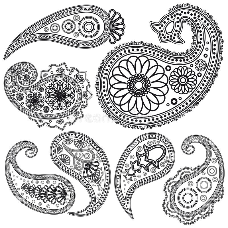 Set of Paisley patterns for design. royalty free stock photo