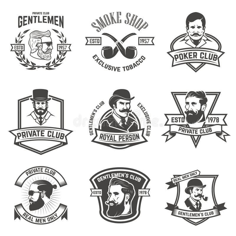 Set palacze kluby, dżentelmenu klubu etykietki projektów elementy dla royalty ilustracja