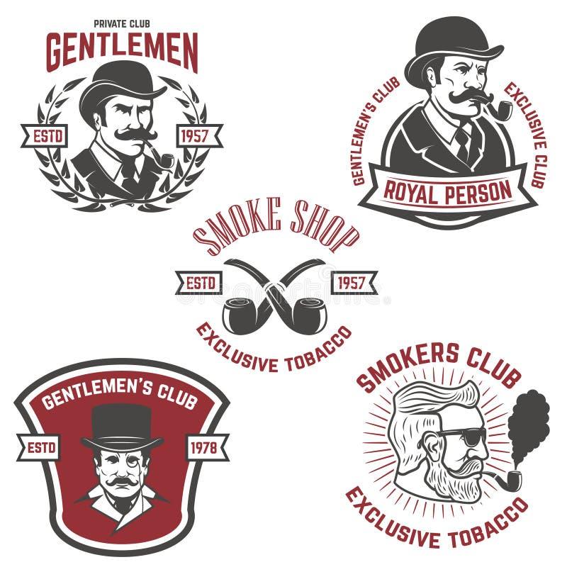 Set palacze kluby, dżentelmenu klubu etykietki projektów elementy dla ilustracji