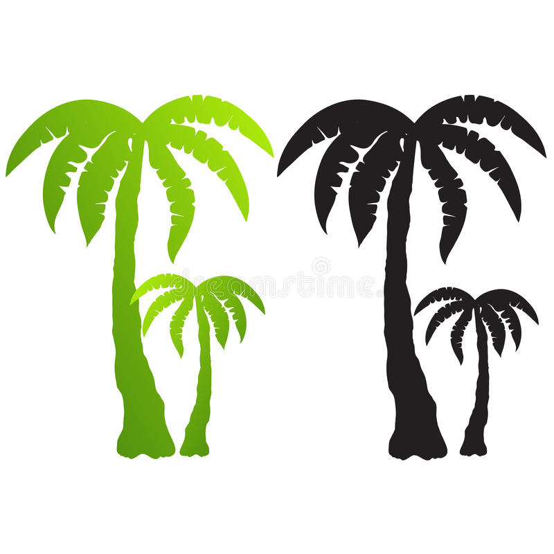 Set of palm tree silhouettes vector royalty free illustration
