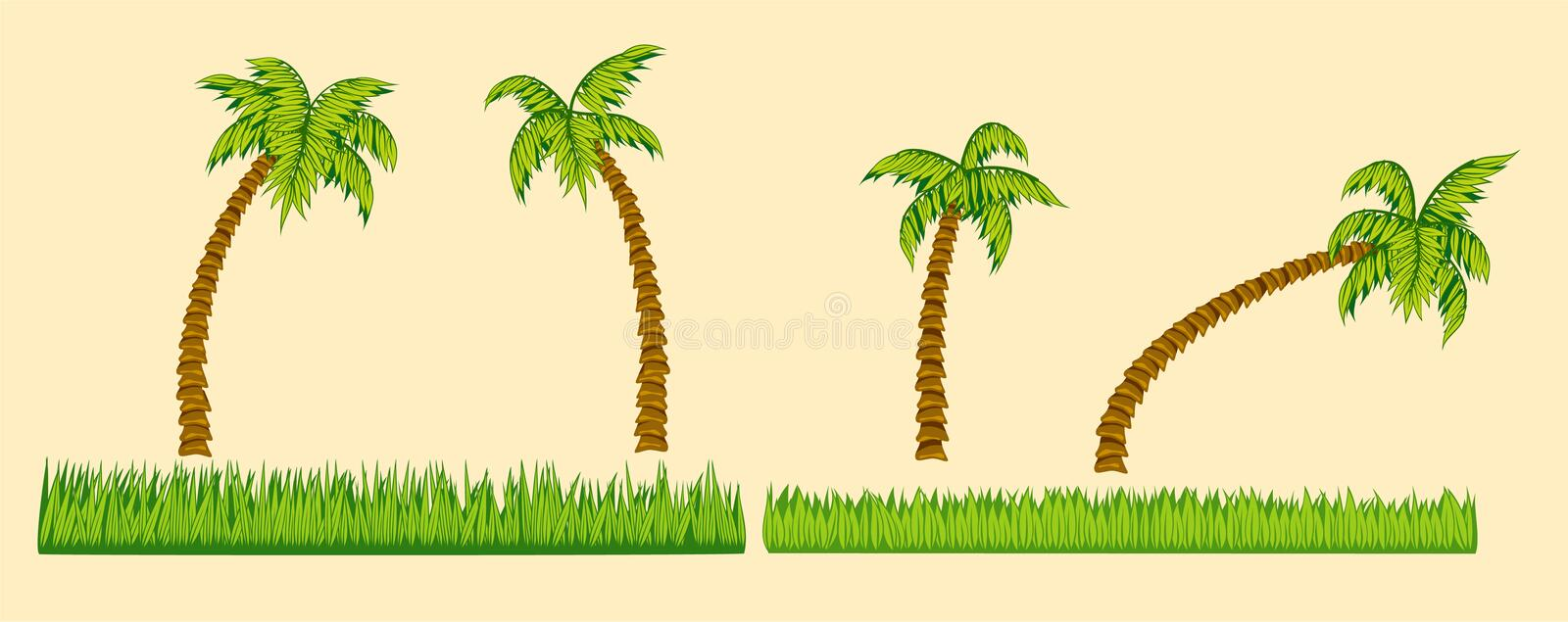 Download Set Of Palm Trees And Grass Stock Vector - Image: 41635664