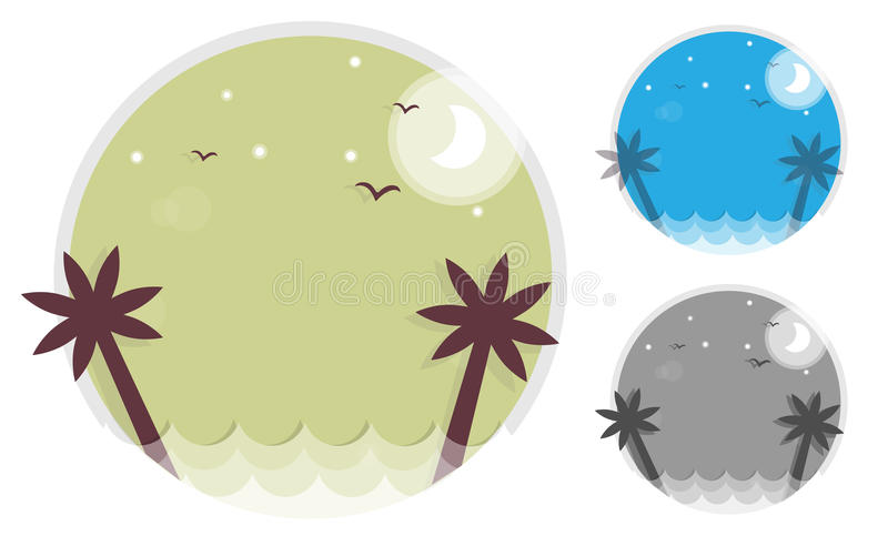 Set palm trees silhouette on island. Round icon of the sea and the waves. Vector illustration. stock illustration