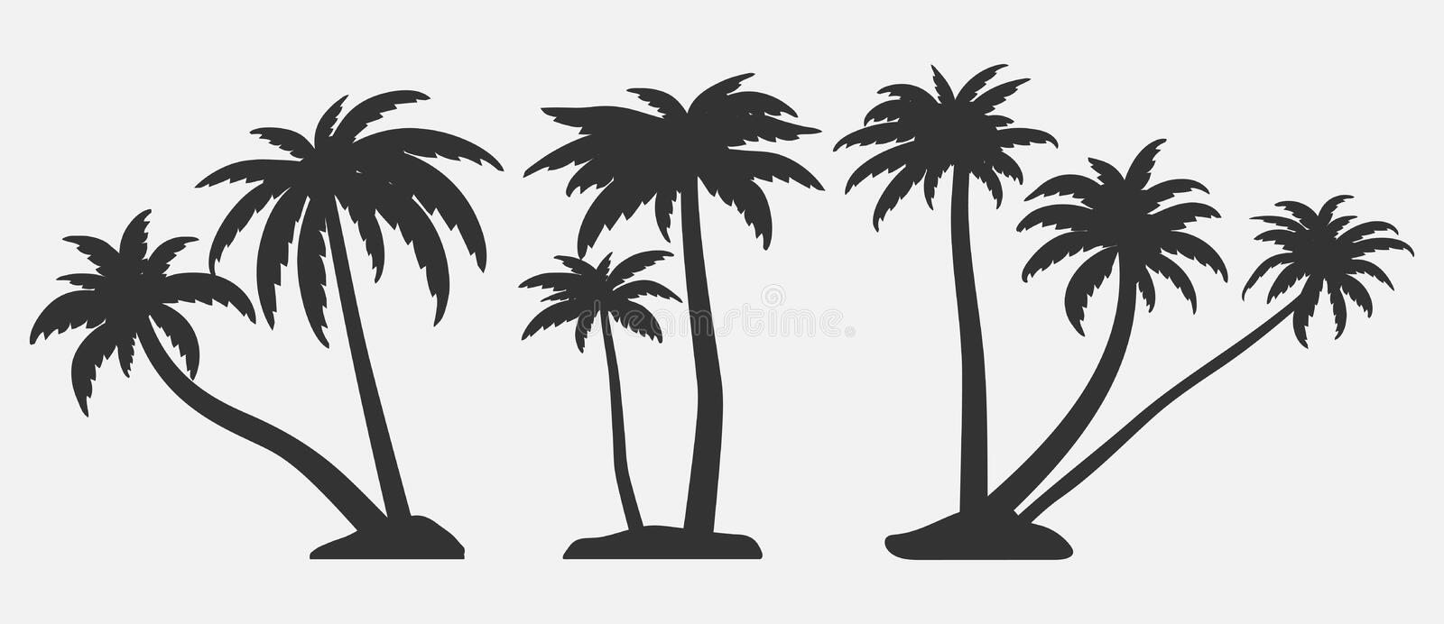 Set of palm trees silhouettes. Vector illustrations isolated on white background. Tropical trees for design about nature royalty free illustration