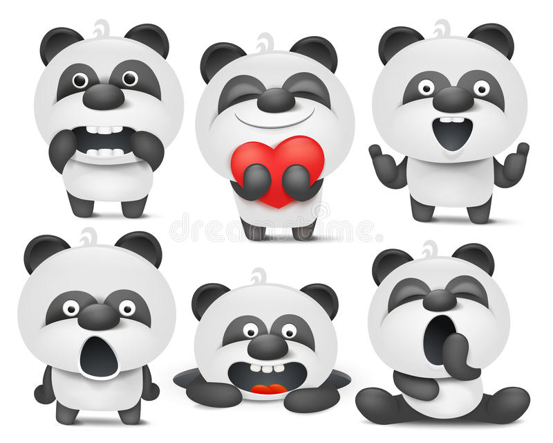 Set of panda cartoon emoji characters in different situations stock illustration