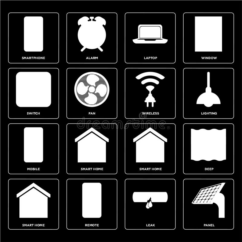 Set of Panel, Leak, Smart home, Mobile, Wireless, Switch, Laptop. Set Of 16 icons such as Panel, Leak, Remote, Smart home, Deep, Smartphone, Switch, Mobile royalty free illustration