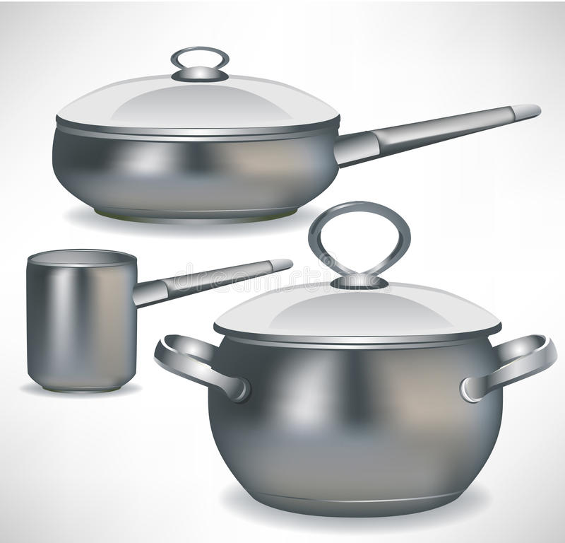 Set of pans vector illustration