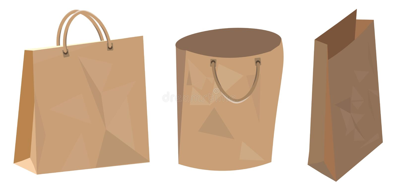 Set of paper bag for food shop and supermarket. Illustration royalty free illustration