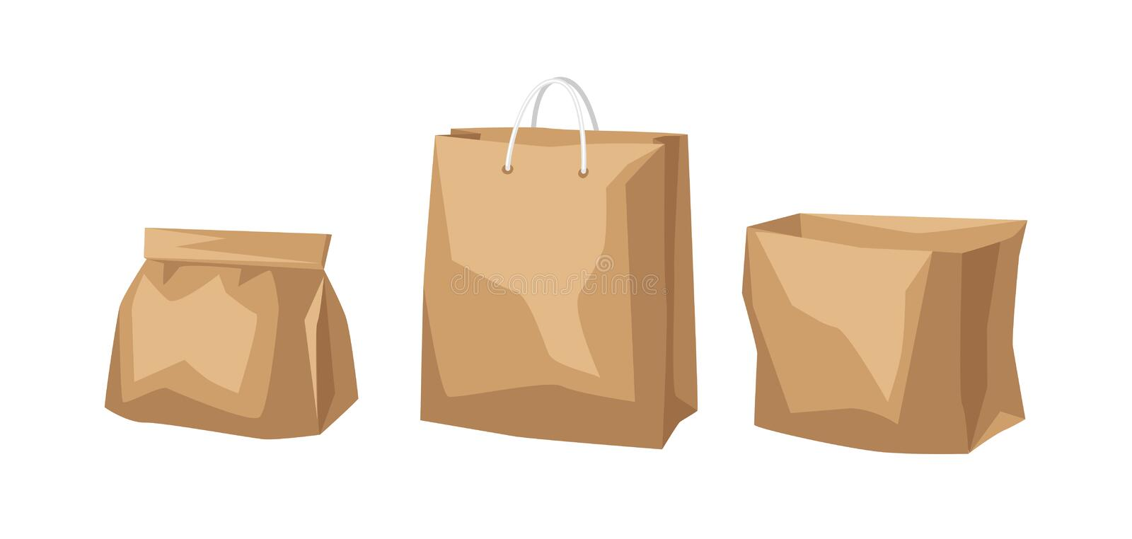 Set of paper bags. Fast food packaging. Isolated on white background vector illustration
