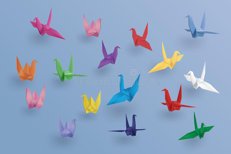 Set of paper birds on blue background. the art of origami. Paper art and craft style royalty free illustration