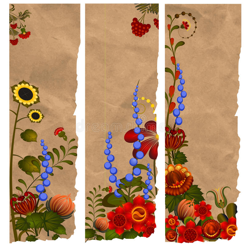 A set of paper bookmarks with traditional Ukrainian designs royalty free stock images