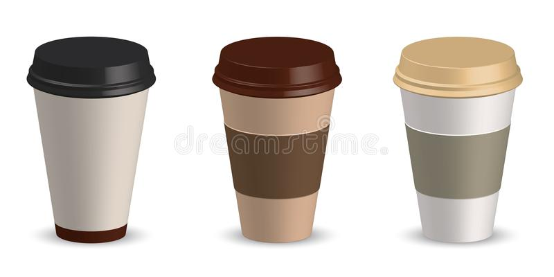 Set of paper cup coffee vector illustration. Cup coffee mockup. Template for your design project vector illustration
