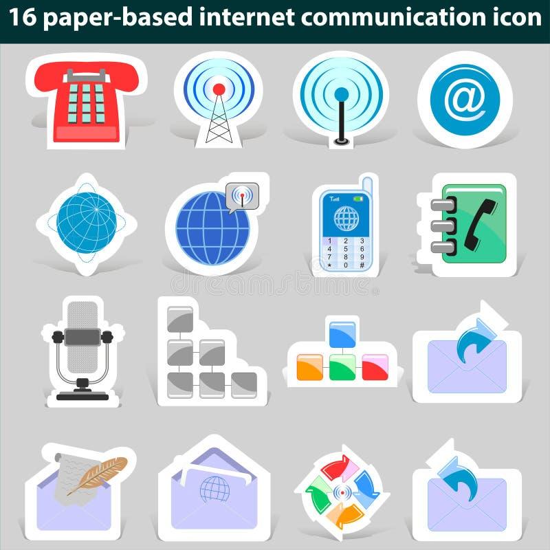 Set of paper icons internet communication