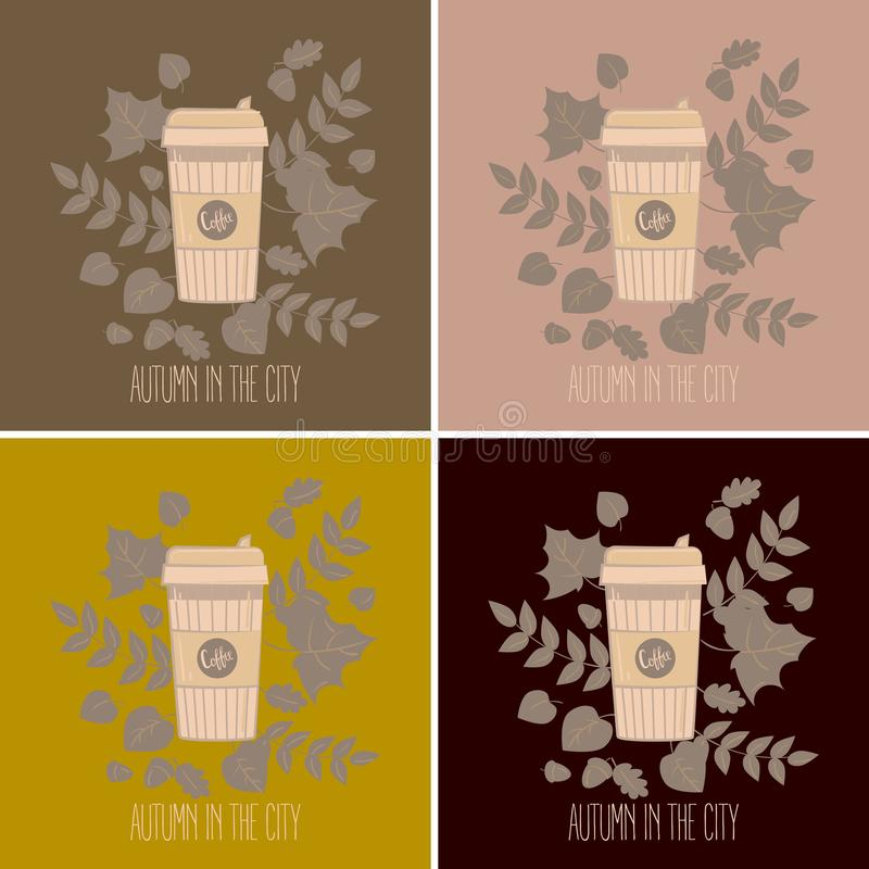 Set of paper coffee cups. Mugs vector illustration. Set of paper recyclable coffee cups in colours. Mug vector illustration. Coffee cup in autumn leaves. Autumn stock illustration