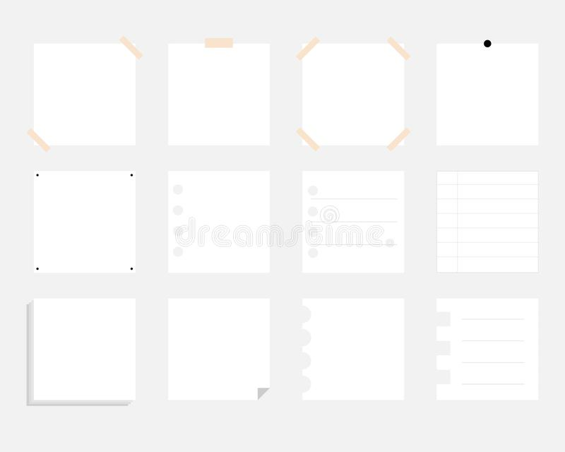 Set of paper vector stickers. white sheets of notebook for decoration stock illustration