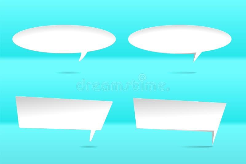 Set papierowa bąbel chmury rozmowa z cieniem Białego papieru rozmowy odizolowywająca obłoczna sylwetka dla teksta projektów eleme ilustracji